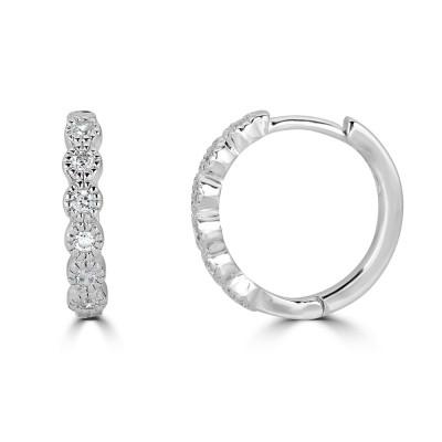 Sachs Signature Bezel Huggies Earrings