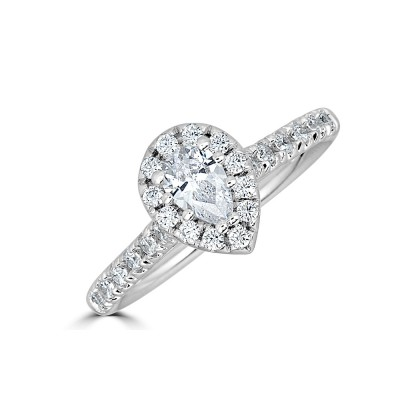 Sachs Signature 1/2CTW Pear Halo Engagment Ring