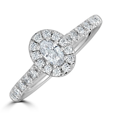 Sachs Signature 1/2CTW Oval Halo Engagment Ring