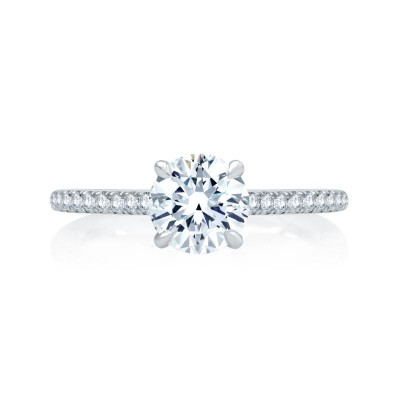 14K White Gold 0.23Ctw Semi Mount With 1.25Ct Head.