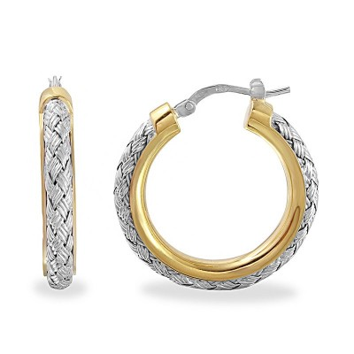 """Sterling Silver/18Kyg/Rhodium Finish 25Mm Woven """"Norma"""" Round Hoop Earrings"""