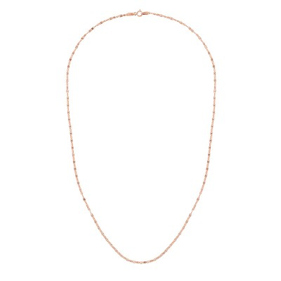 "14K Rose 16"" Diamond Cut Mariner Necklace"