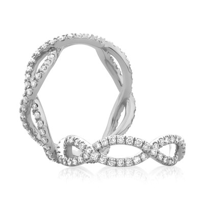 14K White Gold  Semi Mount Diamond Wedding Band