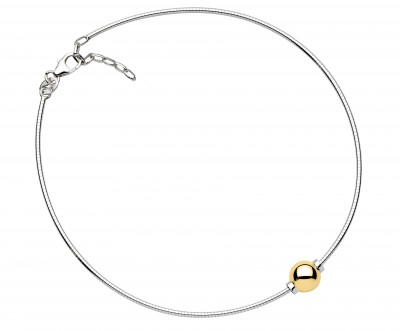 SS/14KY Single Bead Cape Cod Omega Anklet
