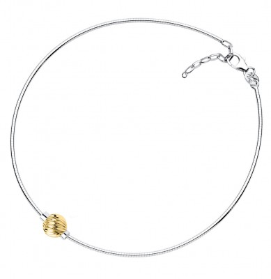 SS/14KY Swirl Bead Cape Cod Omega Anklet