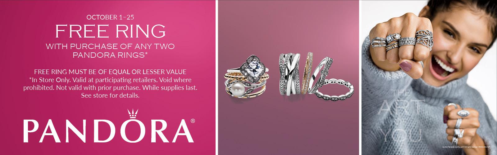 Buy 2 get 1 Free Pandora Ring Event