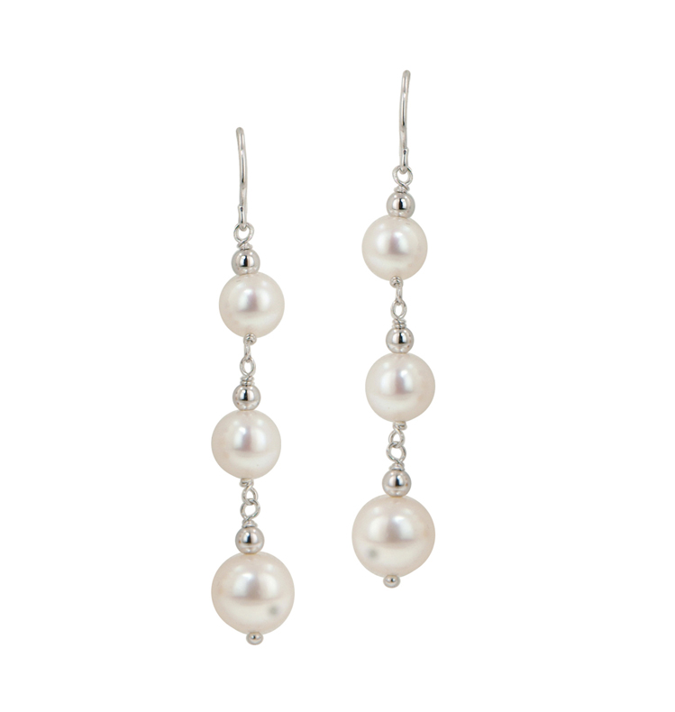 Sterling Silver 6 9mm White Potato Freshwater Cultured Pearl Dangle Earrings Le5527wh