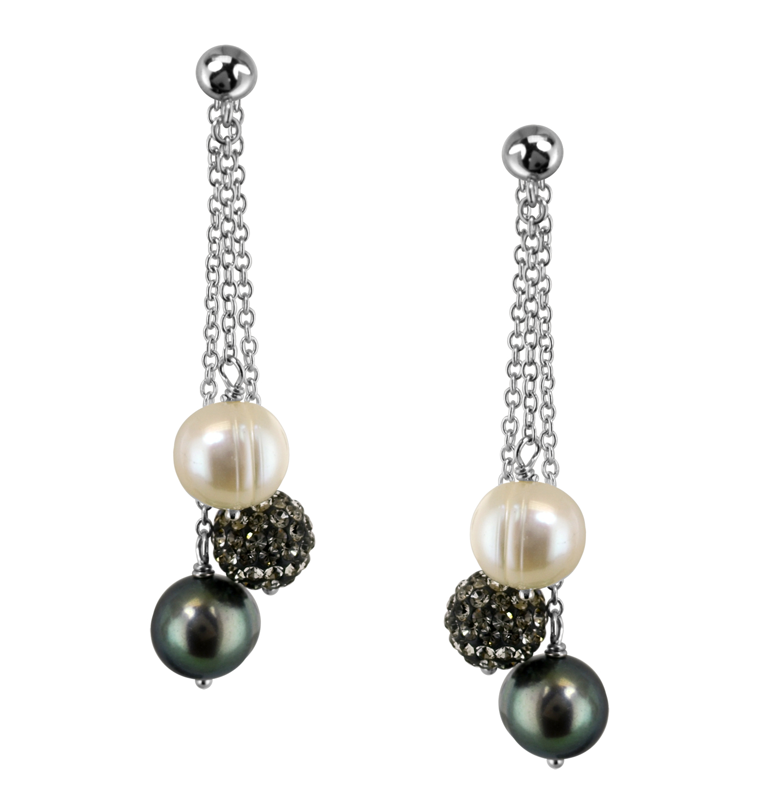 ffc7663f8 Sterling Silver 8-9mm Round Ringed Black Fresh Water Cultured Pearl and Pave  Crystal Bead Back Drop Earring - LE5672BWG