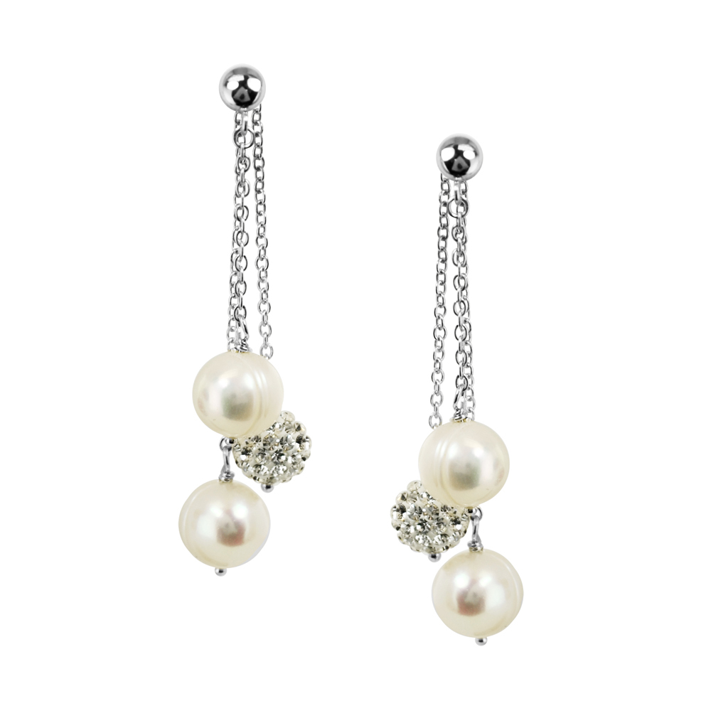 38b96b76b Sterling Silver 8-9mm Round Ringed White Fresh Water Cultured Pearl and Pave  Crystal Bead Back Drop Earring - LE5672WH